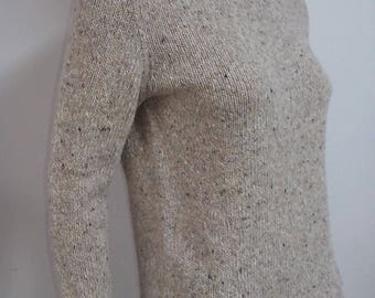 Knit Wool sweater, round neck,beige tweed in cashmere and lambswool, handmade