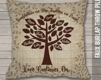 Family tree personalized with grandchildren names faux burlap throw pillow great Christmas, birthday, or Grandparents Day gift PIL-112-BRLP