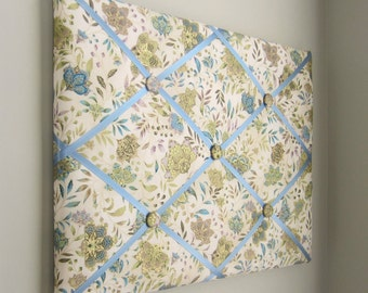 "11""x14""  Memory Board Antique Floral, Vision Board, Memo Board, Ribbon Board, Bow Board, Bow Holder, Photo Display, Business Card Holder"