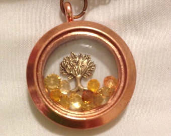 Autumn Fall Tree Copper Brass Floating Charm Memory Locket