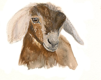 Watercolor Goat Etsy