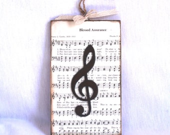 Blessed Assurance Mixed Media Hymnal Wall Art with Treble Clef