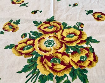 "Vintage 1970's Off White / Yellow / Brown / Green Floral Square Tablecloth 51"" x 50"""