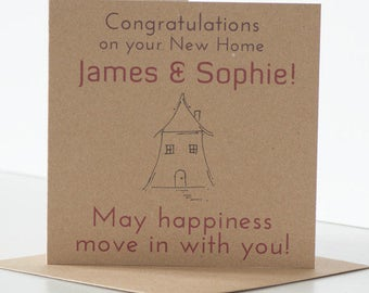 Personalised Congratulations on your New Home Card.  Rustic & quirky New Home Card, House Moving Card, House Warming Card