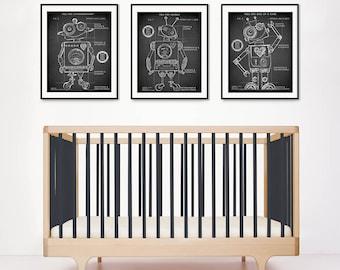 Toy Robot Blueprints 11x14, Robot Patent, Robot blueprints in Black, Robot Nursery decor, Technical drawing, Robots, Robin Davis Studio