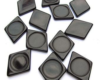 Black Lucite Diamond Findings Parts Pieces