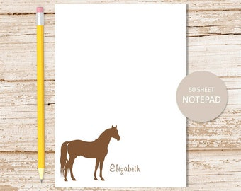 personalized horse notepad . horse note pad . personalized stationery . horse silhouette stationary . color choices