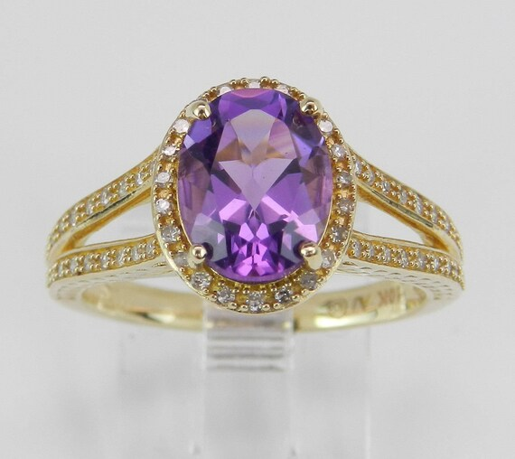 Diamond and Amethyst Halo Engagement Promise Ring Yellow Gold Size 7 February Gem