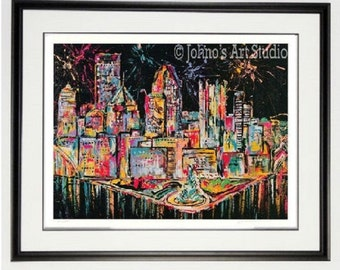Framed Pittsburgh Skyline art, Pittsburgh art, Pittsburgh wall art, custom  Framed print, Pittsburgh pride, man Cave art, by Johno Prascak