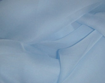 "Pure Silk Chiffon SKY BLUE fabric 138cm (54"") Wide available by the metre medium weight"