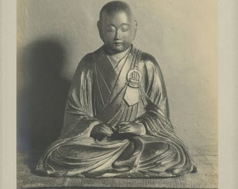 Buddhist monk - Vintage Photographic print of a sculpture of a Japanese monk.
