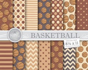 Vintage BASKETBALL Digital Paper   Sports Printables   Digital Downloads   Retro Basketball Scrapbook Paper Patterns   8 1/2 x 11 Printables