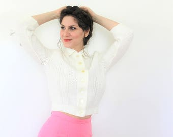 1950s Cardigan / 50s 60s White Knit Cropped Cardigan
