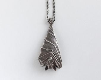 Bat Necklace - Bat Pendant - Bat Jewelry - Vampire Necklace - Gothic Jewelry - Carved Bat - Animal Necklace - Silver Bat - Australia -