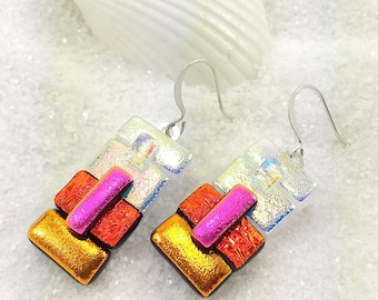 Dichroic earrings, dichroic glass, fused glass jewelry, glass fusion, dichroic fused, jewelry handmade, trending now, rainbow jewelry glass