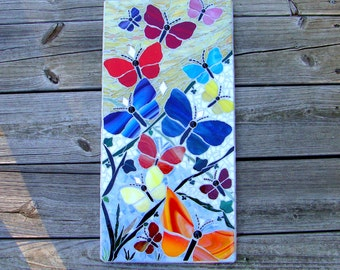 Butterfly Garden Original Mosaic Art Wall Hanging Mosaic Panel