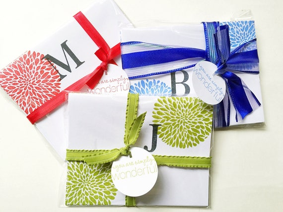 Letter Stationery. Monogram Note Card. Colorful Initial Card Set. Personalized Card. Hand Stamping. Stamped Initial Notecard. Christmas Gift
