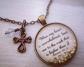 Bible verse necklace, Psalm 61:2 sparkle necklace, Christian jewelry, cross necklace, Christian gift