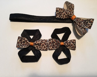 Cheetah barefoot sandal and headband set -halloween