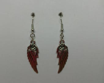 Silver Angel Wings with Rose, Silver Fishhook