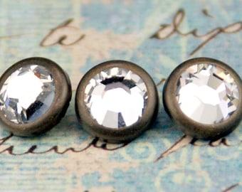 10 Crystal Hair Snaps - Round Bronze Rim Edition -- Made with Swarovski Crystal Element Rhinestones