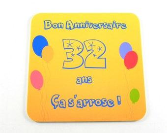 cadeau personnalisé Dessous de verre personnalisable Bon anniversaire 30 ans ça s'arrose ! Aimant frigo anniversaire 30 ans 40 ans 50 ans