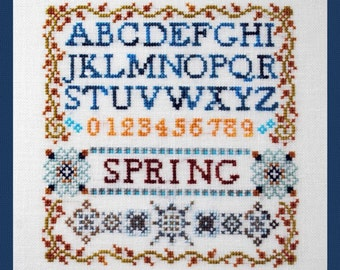 Cross Stitch Instant Download Pattern Mini Spring Sampler. Counted Embroidery Chart. Alphabet Letters Initials Monogram X Stitch
