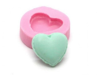 Miniature Macaron heart 15mm silicone mold