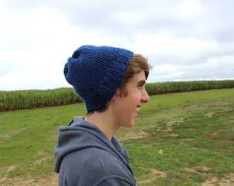 Handknit Blue Hat
