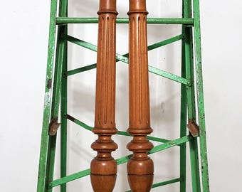 """HALF WALL COLUMN Post Pillar Trim 25"""" Matched Pair Antique French Hand Carved Wood Architectural Salvage Salvaged Upcycled Custom Furniture"""