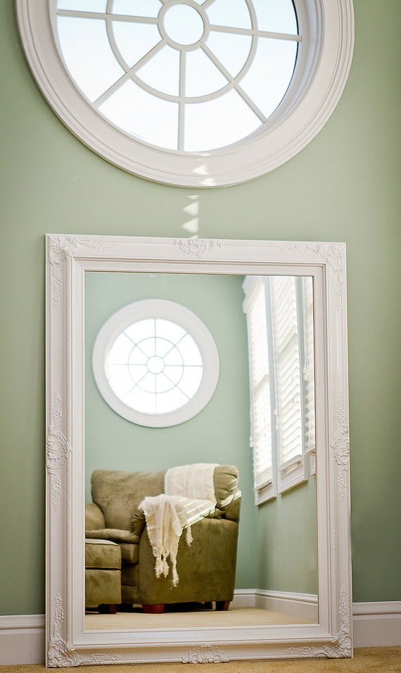 LARGE WHITE MIRROR For Sale 44x32 Vintage Inspired