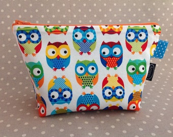Blue and white zipper bag with colorful owls woodland animal zipper pouch gift for owl lover cute diaper bag for boy small baby shower gift