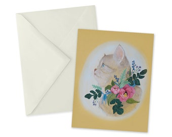 Floral Kitten Card 1pc Colorful Blank Cat A2 Yellow Note Card