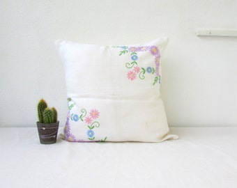 Pastel patchwork cushion cover, vintage embroidery, pastel flower pillow cover, floral decor, upcycled vintage fabric, handmade in the UK