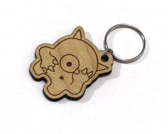 Early the Timid Monster - Unpainted Wood Laser-Cut Keychain -