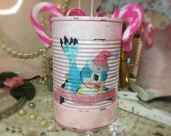 Shabby Chic Pink Christmas Vase Can Retro Vintage Whimsical Kitschy Blue Bird Decoration Painted Decoupage Xmas Decor Centerpiece Gift Box