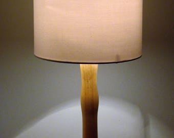 Unique Beech table lamp with Pine wood base. 380mm in height.