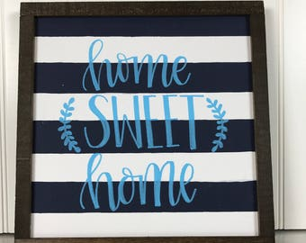 """Home Sweet Home with Laurels, Wood Sign 