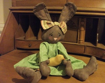 Primitive Chocolate Bunny Rabbit Doll - Easter Chick