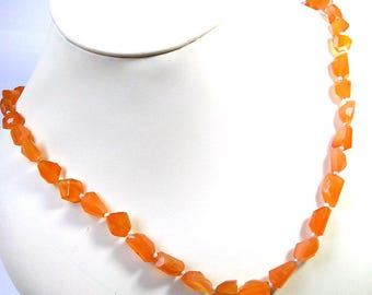 """New Arrival Gorgeous Carnelian One Full 18"""" Strand Necklace,Carnelian Nuggets Necklace WITH ADJUSTABLE lenght 22 inches"""
