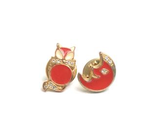 Enamel pin set, Cat brooch, Cat enamel pin, kawaii pin, cat pin, cat jewelry, gift for her, moon brooch, lapel pin set, cat lover,