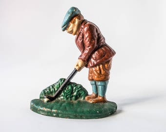 Vintage Puttiing Golfer Doorstop Cast Iron Possibly Hubley #34 Or Repro