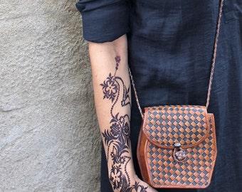 "Saddlebag slung ""Gouranne"" leather braided bicolor"