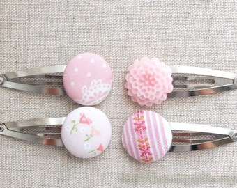 SUMMER SALE - Hair Accessories, Handmade Hair Snap Clips - Mixed Fabric Buttons Resin Flowers, Pale Pink Colorway Set (1 Pack, 4 in a set)