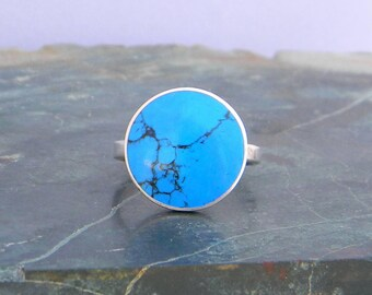 Southwest Sterling Silver Dyed Turquoise Inlay Vintage Ladies Ring Size 6.75