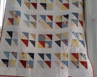 quilt, handmade, twin quilt, blue, red, yellow, baby, kids