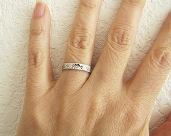 Diamond Cut Texture Sterling Silver Ring Band, size 6.5