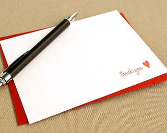 Personalized Thank You Cards with Heart / Personalized Stationary with Heart Design / Set of 12 Thank You Note Cards