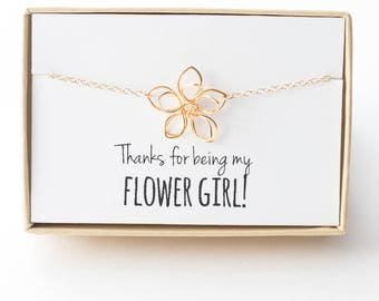 Flower Girl Gift - Flower Girl Bracelet - Gold Flower Bracelet - Thanks for Being My Flower Girl - Wire Flower - Little Girl Bracelet