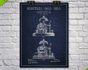 1881 Alexander Bell Electric Call Bell Patent Poster, Patent Art Print, Patent Print, Blueprint, Wall Art, Home Decor, Gift Idea